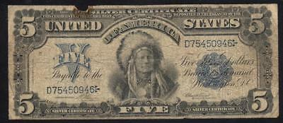 1899 $5 Silver Certificate CHIEF Note Fr 273   D75450946