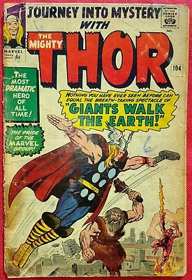 Journey Into Mystery With Thor 104 Marvel Silver Age 1964 Giants Walk the Earth