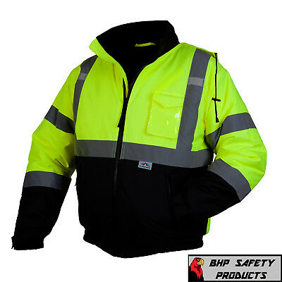 Pyramex Hi-Vis Class 3 Insulated Safety Bomber Reflective Jacket ROAD WORK M-4XL