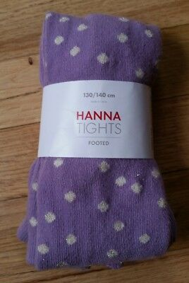 Nwt Hanna Andersson Cotton Footed Tights Wild Purple Glitter Dot 110 120 130 140