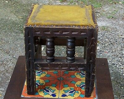 Vtg Spanish Colonial Mission Wooden Stool Velvet Top Clavos Nails Monterey