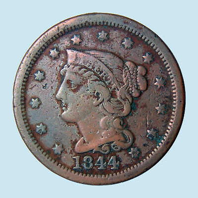 1844 1C Braided Hair Cent USA 226A (1839-1857) Celebrating US History! VF-! $NR!