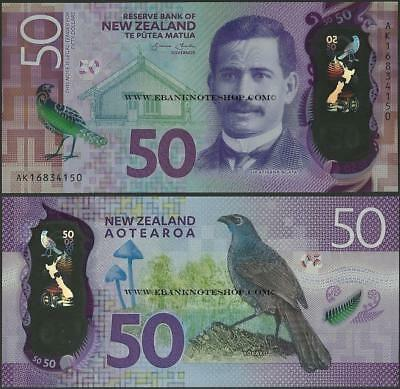 New Zealand,50 Dollars,P194,B140,2016 ,Uncirculated,Polymer,Brighter money@ EBS