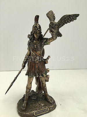 Athena Greek Goddess of wisdom and war, cast off the owl Statue Figure Sculpture