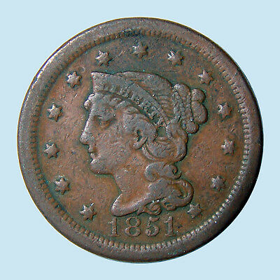 1851 1C Braided Hair Cent USA 226H (1839-1857) Celebrating US History! VF-! $NR!