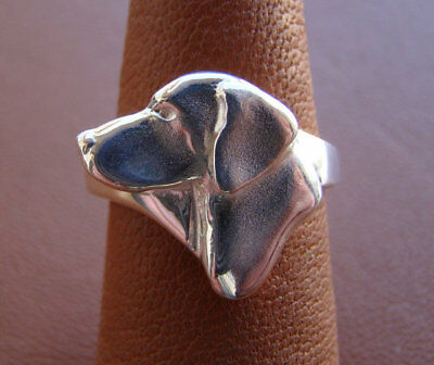 Small Sterling Silver German Shorthaired Pointer Head Study Ring