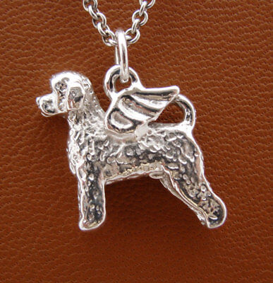 Sterling Silver Portuguese Water Dog Angel Pendant
