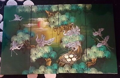 Inlaid Mother of Pearl Lacquered Artwork 4 Piece Set - Vintage