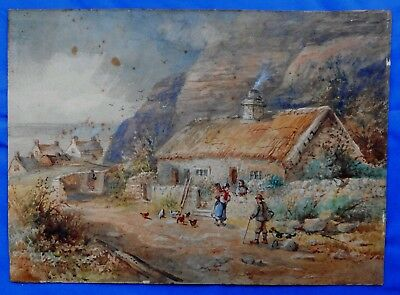 Antique English / Welsh  Watercolour Fishermans Cottage Colwyn North Wales
