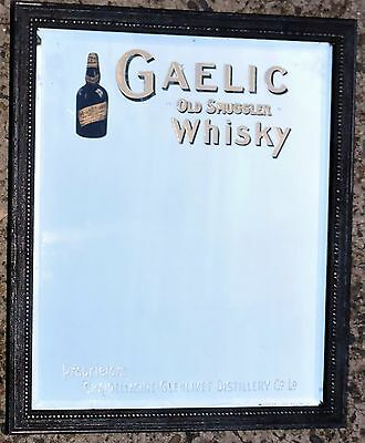 """Antique Advertising Pub Mirror with Bevel edge """"Gaelic Old Smuggler Whisky Sign"""""""