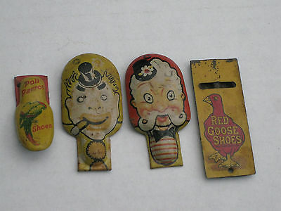 Lot of 4 Vintage CLICKER WHISTLE Red Goose Shoes Poll Parrot CLOWNS