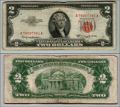 (1)-1953C  Series United States Note Red Seal $2 Two Dollar Bill  LT Z188