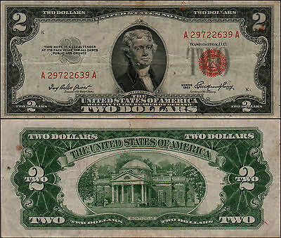 (1)-1953  Series United States Note Red Seal $2 Two Dollar Bill  LT Y-27