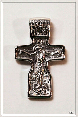 RUSSIAN ORTHODOX SILVER  CROSS PENDANT MEDALLON ICON JESUS CHRIST (TS131)com
