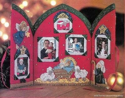 """NATIVITY SCREEN "" Quality BUCILLA CHRISTMAS  KIT stamped FELT 30.5.8 X 22.9CM"