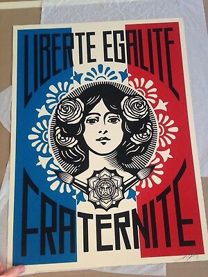 Shepard Fairey Obey - Liberte Egalite Fraternite - Signed  good / Vg Condition
