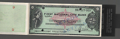 60's NY. First National City Bank Unused Checkbook with 10 Traveler's Check 20 $