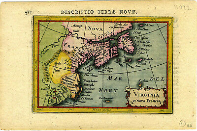 1616 Genuine Antique hand colored map Virginia, New France. Petrus Bertius