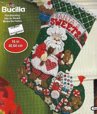 "2 x BUCILLA ""SANTA STOCKINGs"" Quality CHRISTMAS KITs FELT 40.64CM"