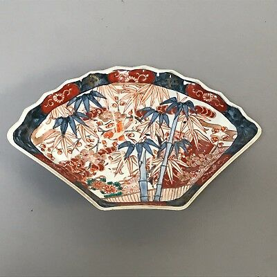 Antique Japanese Porcelain Imari Fan Shape Plate Signed