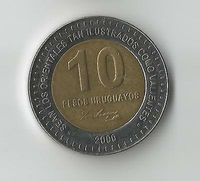 Uruguay 2000 Bi-Metallic 10 Pesos coin 28mm