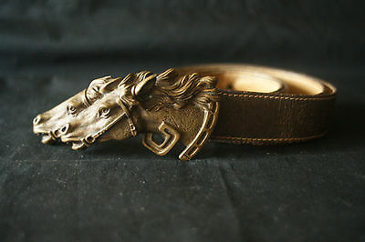 GUCCI Double Horse Vintage Brass Buckle Leather Belt  Made in Italy. RARE!