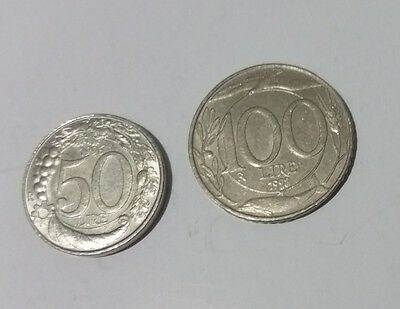 Italy pair of 50 & 100 Lire coins 'turreted head'