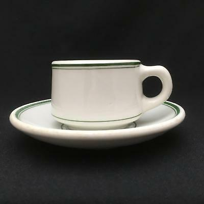 HEAVY STONEWARE Restaurant Ware Cup & Saucer Green Pinstripes STERLING Vitrified