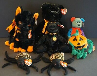 Lot of 8 Halloween Retired Ty Beanie Babies & Buddies