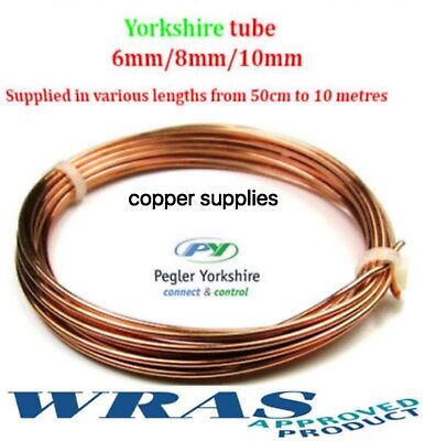 YORKSHIRE TUBE 10mm copper pipe/tube/plumbing/microbore/water/gas/diy/wras/new