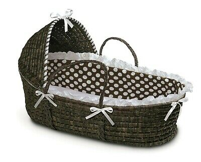 Espresso Baby Infant Moses Basket w/Hood Brown & White Polka Dot