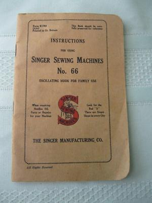 Vintage Instructions Book No. 66 For Using Singer Sewing Machines