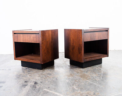 Mid Century Modern Nightstand Set Side End Table Lane Bedside Pair Two Vintage