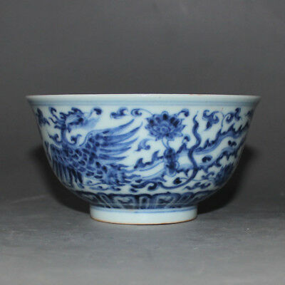 180 Rare Chinese Old Collection Blue-and-White 青花双凤缠枝碗 Porcelain Bowl
