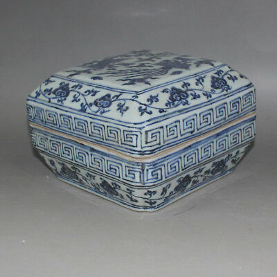 174 Rare Chinese Old Collection Blue-and-White Phoenix Pattern Porcelain Box