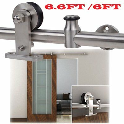 New 6.6' Antique Sliding Barn Door Hardware Set Kit Wood Doors Stainless Steel H
