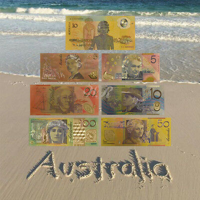 WR 24K Gold Foil Colored Australia Banknote Set $5 - $100 Dollar Lot Collection
