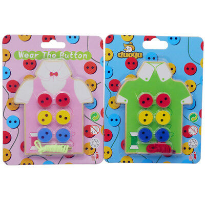 Early Education Teaching Toys Beads Lacing Board Wooden Sew On Button Toys JS63