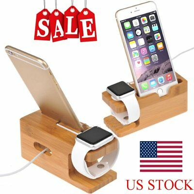 Wood Charging Dock Station Charger Holder Stand For Apple Watch iWatch iPhone