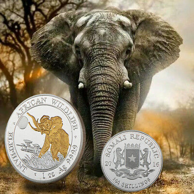 WR Collectibles Somali 100 Shillings African Wildlife Elephant Silver Gold Coin