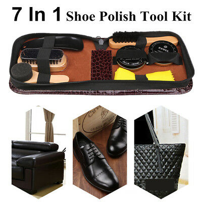 Neutral Shoe Polish Boot Leather Shine Cleaning Brushes 7 In 1 Tool Kit + Case