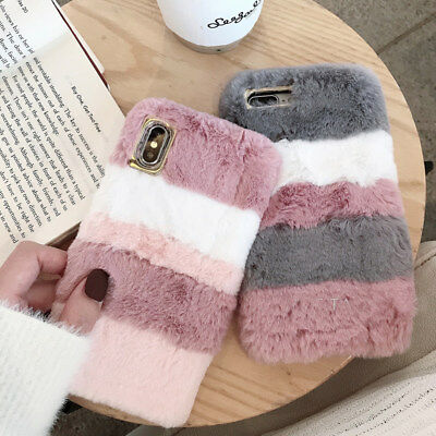 Cute Plush Shockproof Warm Soft Faux Fur TPU Case Cover For iPhone X Samsung S9