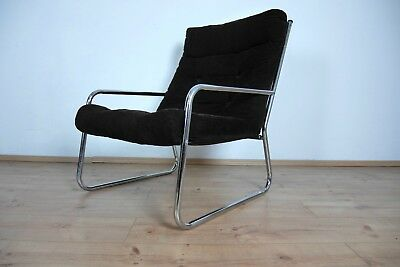 Lounge Sessel Cocktailsessel Arm Chair 70er Jahre Cord Stahlrohr