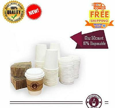 Coffee Cups Paper To Go Hot 12 oz White With Lids And Sleeve Disposable Mug