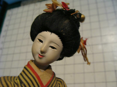 vintage doll: early  DOLL, Harusume, glass eyes, lady walking on base