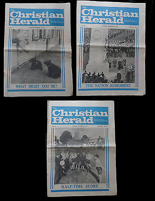 "3 x  1970s  Newspapers T""HE CHRISTIAN HERALD October/November 1974"