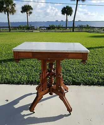 Antique Vintage  Marble Top Coffee Side Table