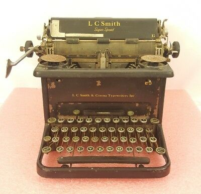 "Vintage L.C. Smith & Corona Black Super Speed 11"" Carriage Typewriter FOR PARTS"