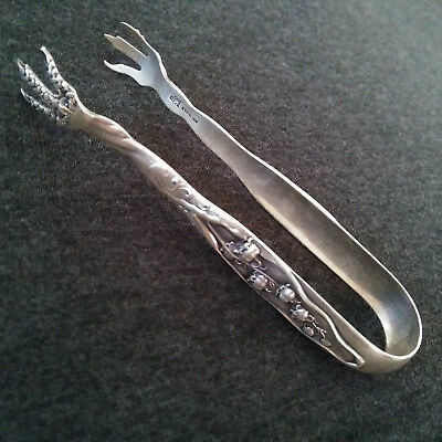 """Antique 1885 Whiting Co. """"Lily Of The Valley"""" Sterling Silver Sugar Cube Tongs"""