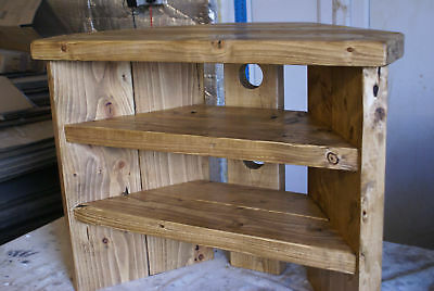 Rustic Corner Tv Stand antique pine colour solid wood unit cabinet plank  waxed - RUSTIC CORNER Tv Stand Antique Pine Colour Solid Wood Unit Cabinet